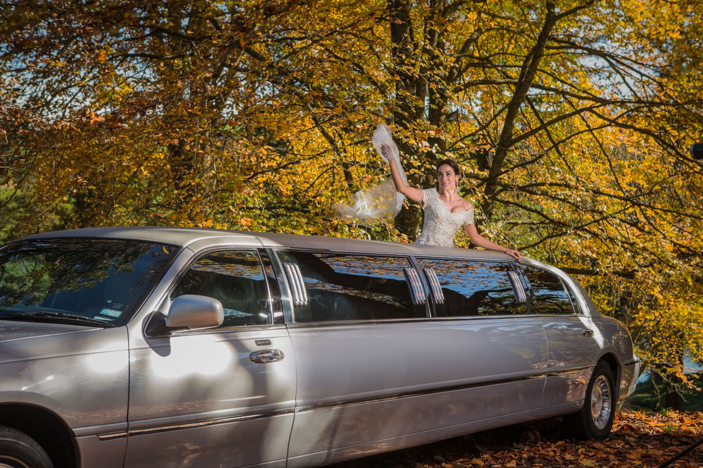 bride with her head out of the sunroof of the limousine that was in the movie Pretty Women