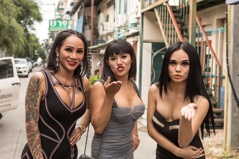 Three ladyboys in Thailand