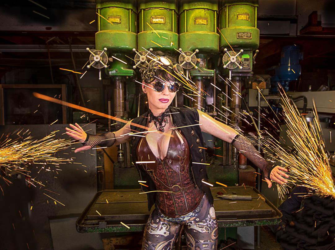 Steampunk women fending off sparks
