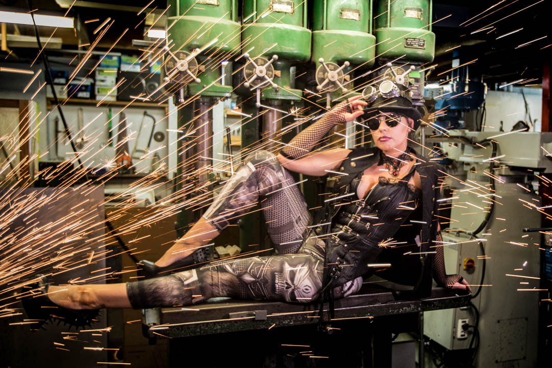 Steampunk women in colour with sparks