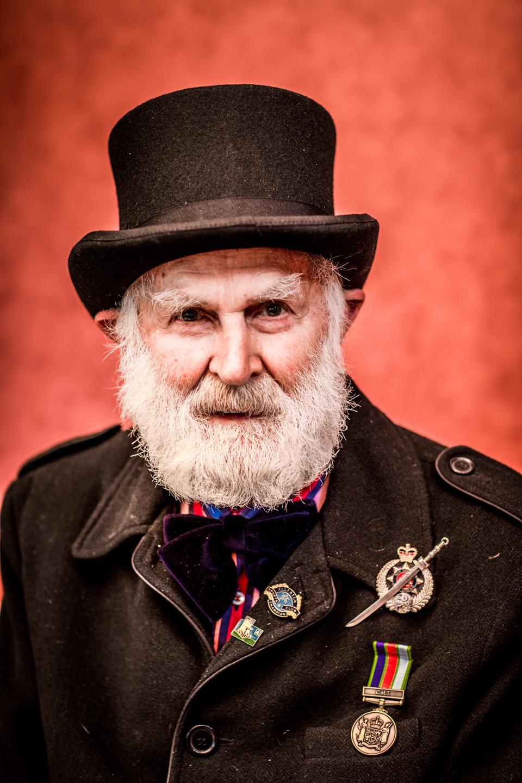 steampunk gentleman with war medals