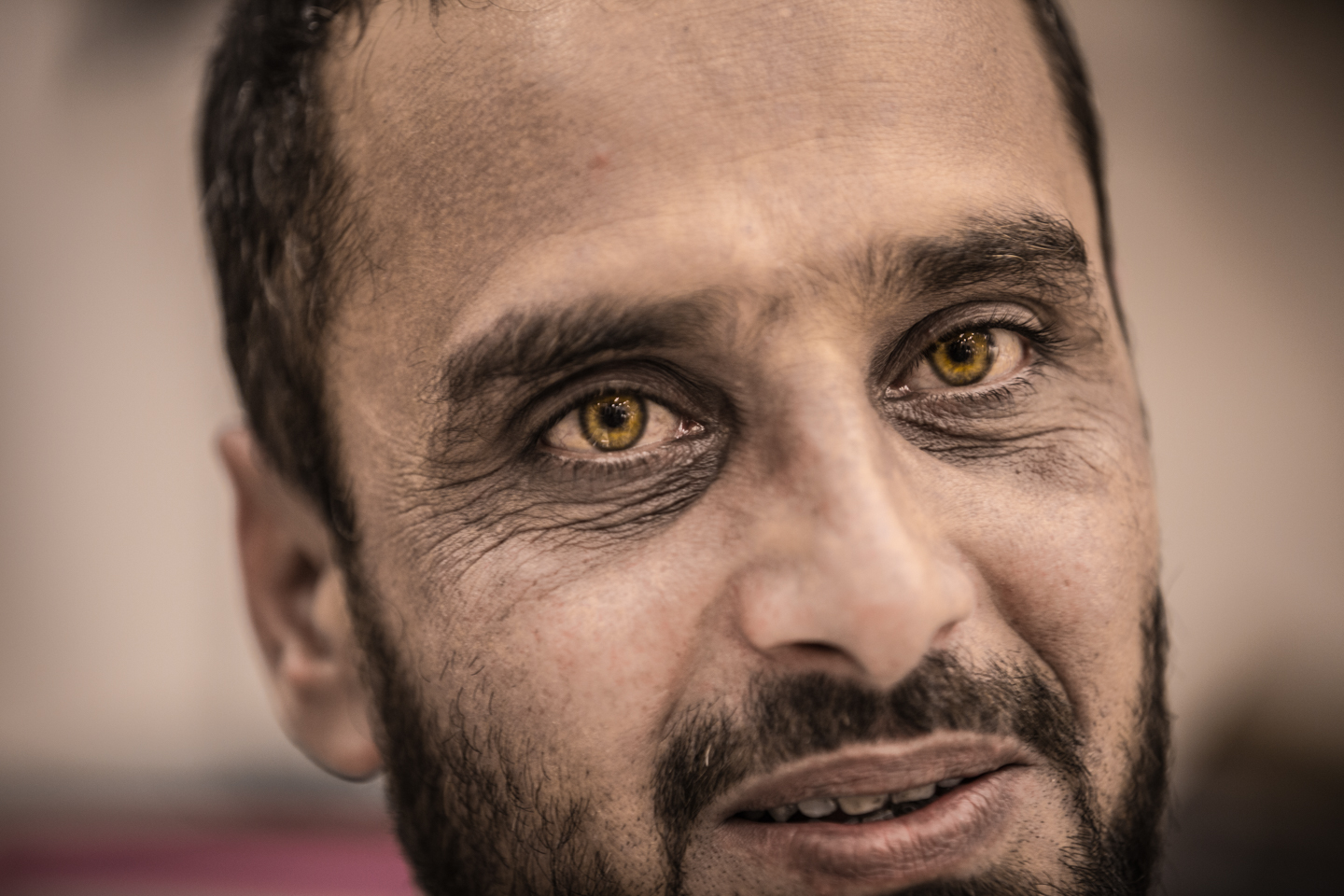 incredible eyes of a man in Cambodia