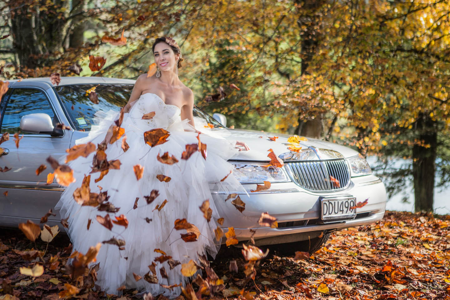 falling autumn leaves cover our bride by a limousine
