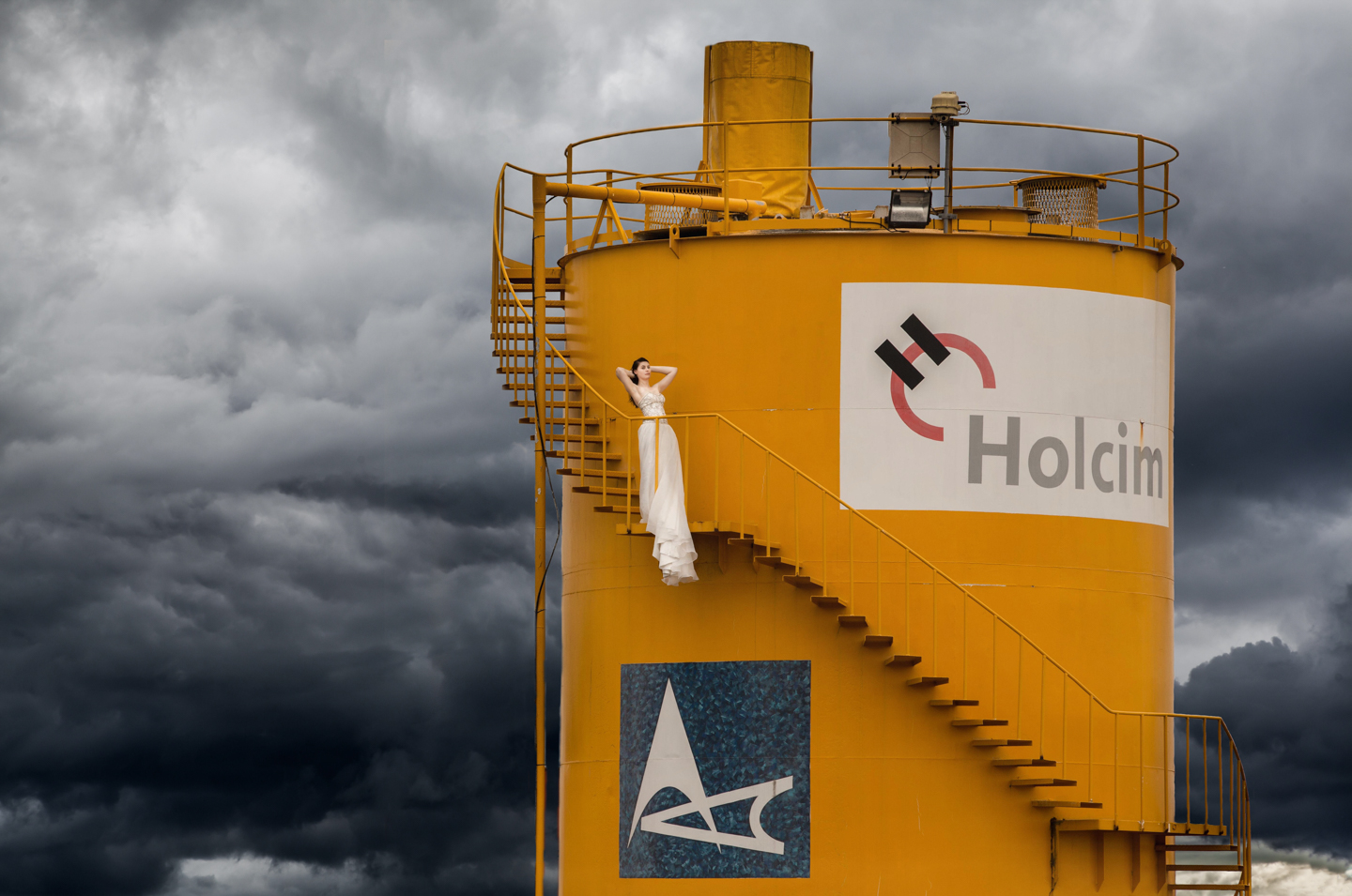 Bride on pending storm tower