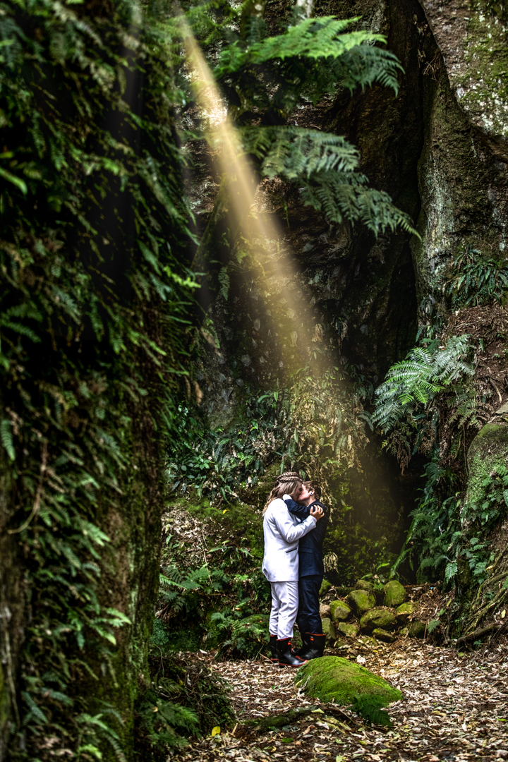 Ray of light in a glen on our bride and bride