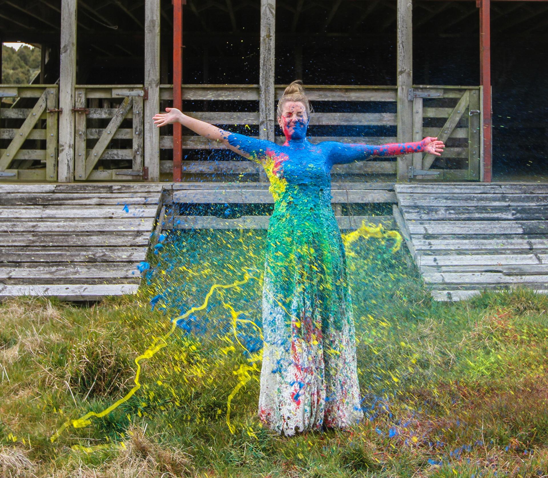 bride paint splattered