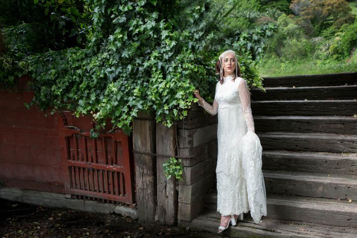 Art Deco bride at the Old Mill venue in Napier