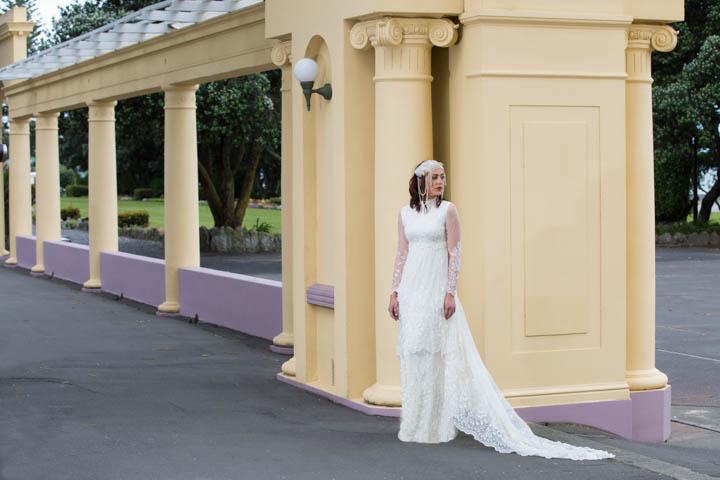 Art Deco bride on marine parade in Napier