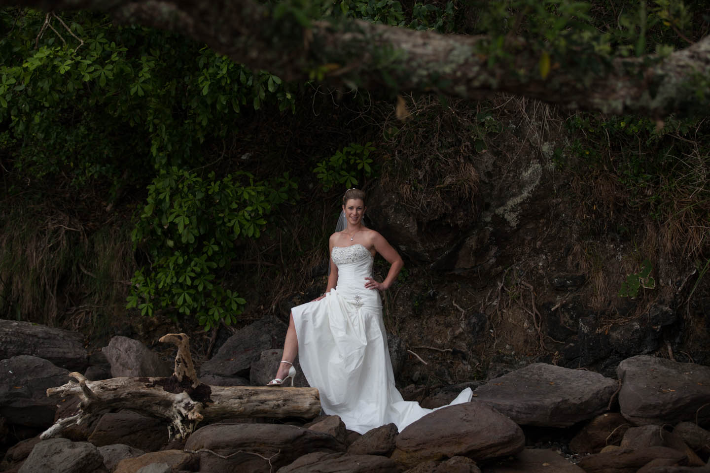 bride on her own at Bowentown beach
