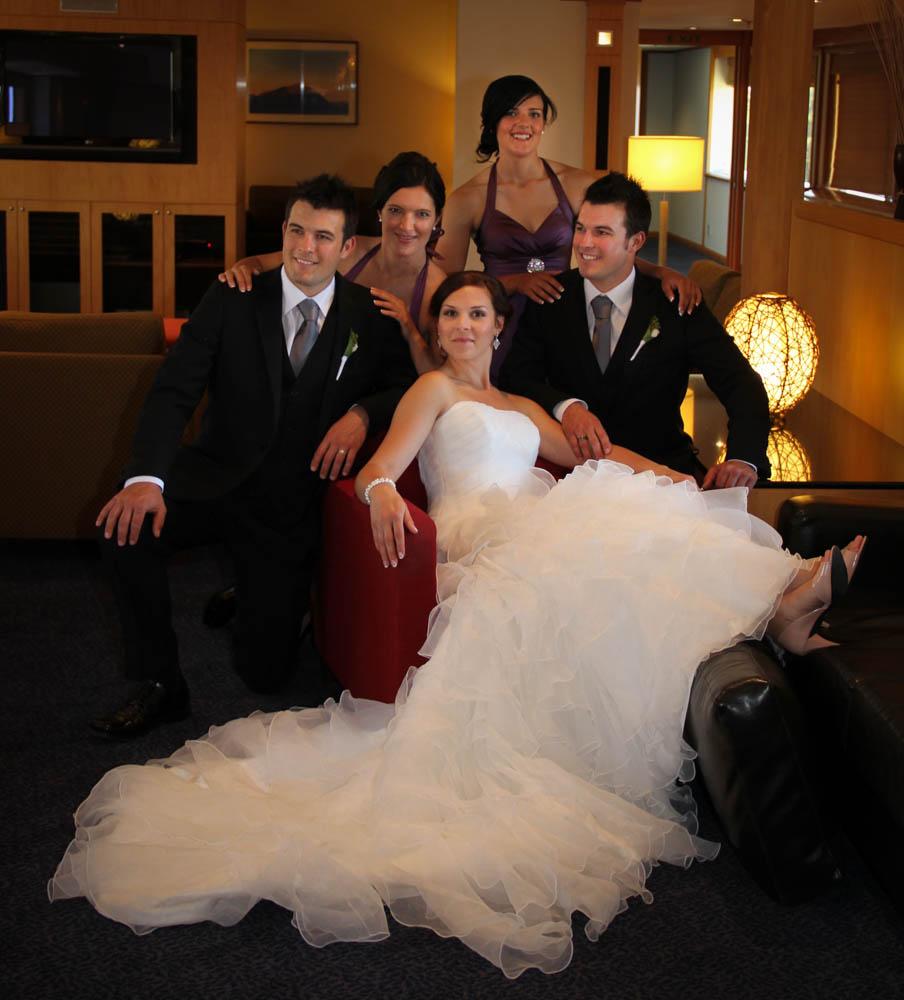 bride and the groomsmen at the Millennium Hotel Rotorua