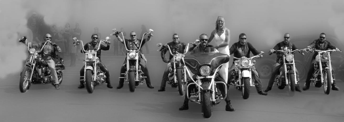 Christian motorcycle club with smoke in e background