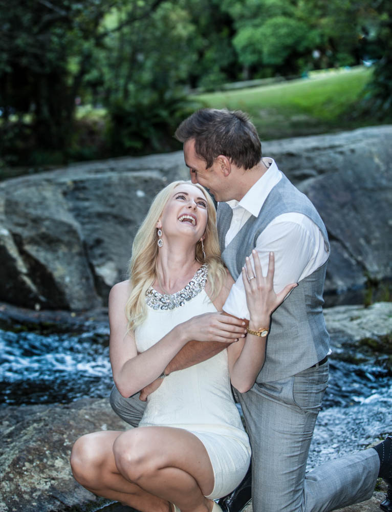 engagement shoot at a waterfall in Whakamarama
