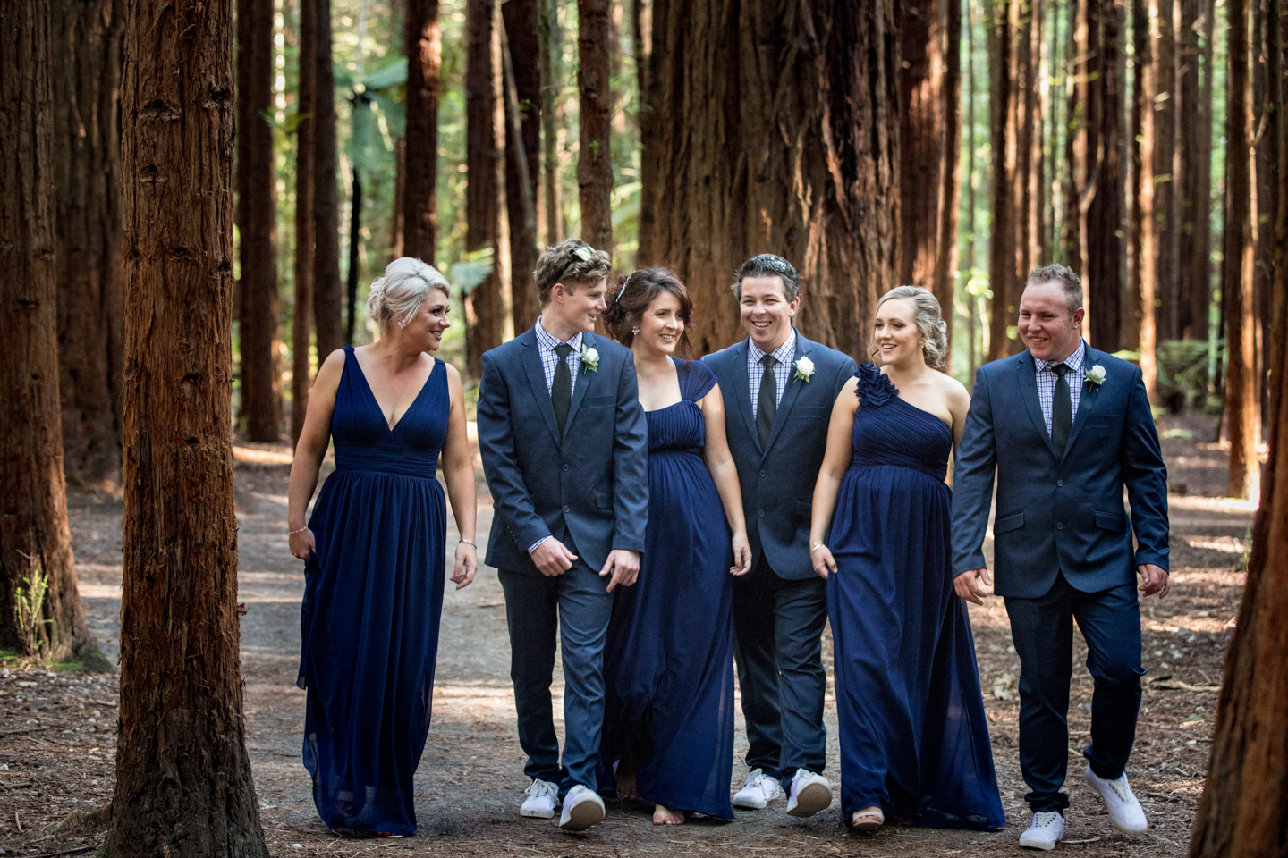 bridal party at the Redwoods in Rotorua