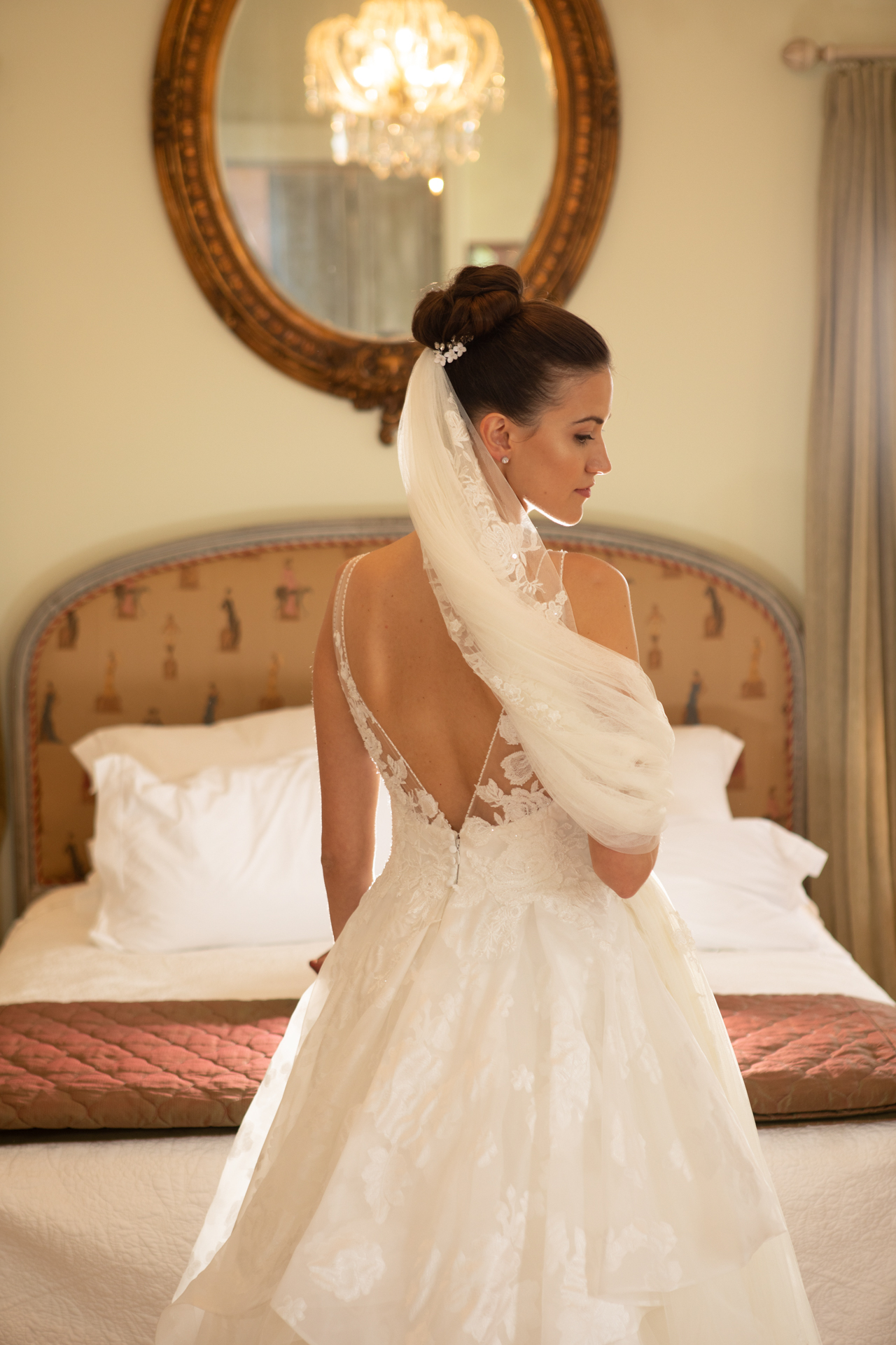 Beautiful bride in the bridal suite French Country house Tauranga