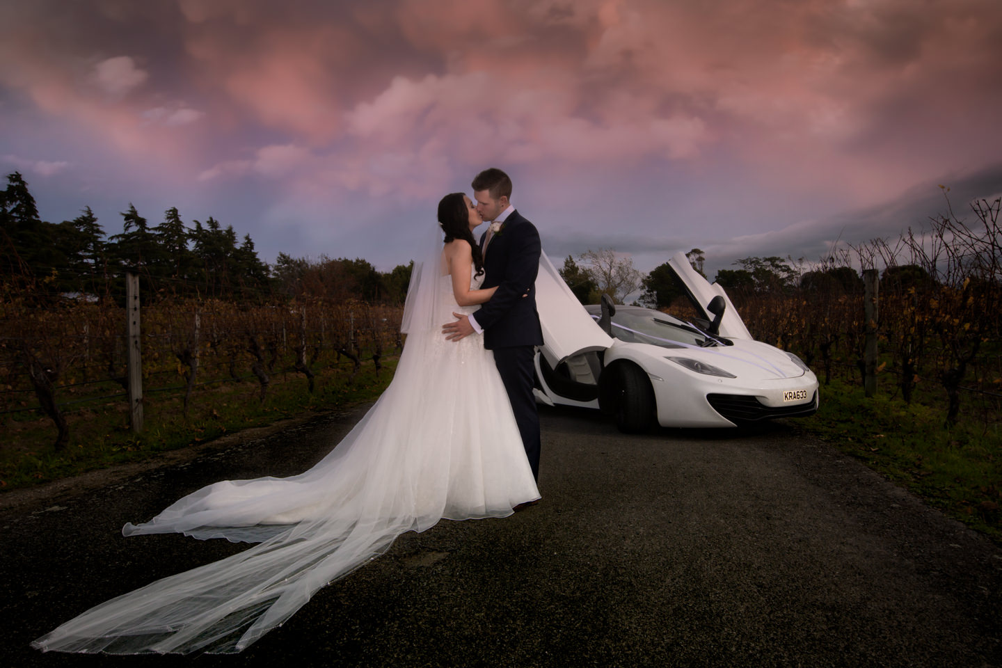Bide and Groomwith thier McLaren