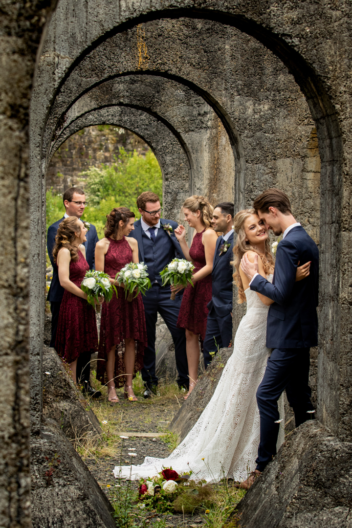 Bridal party in the arches