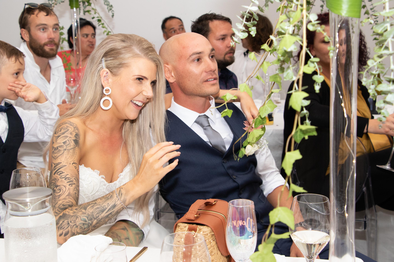 bride and groom at reception Black Walnut Venue
