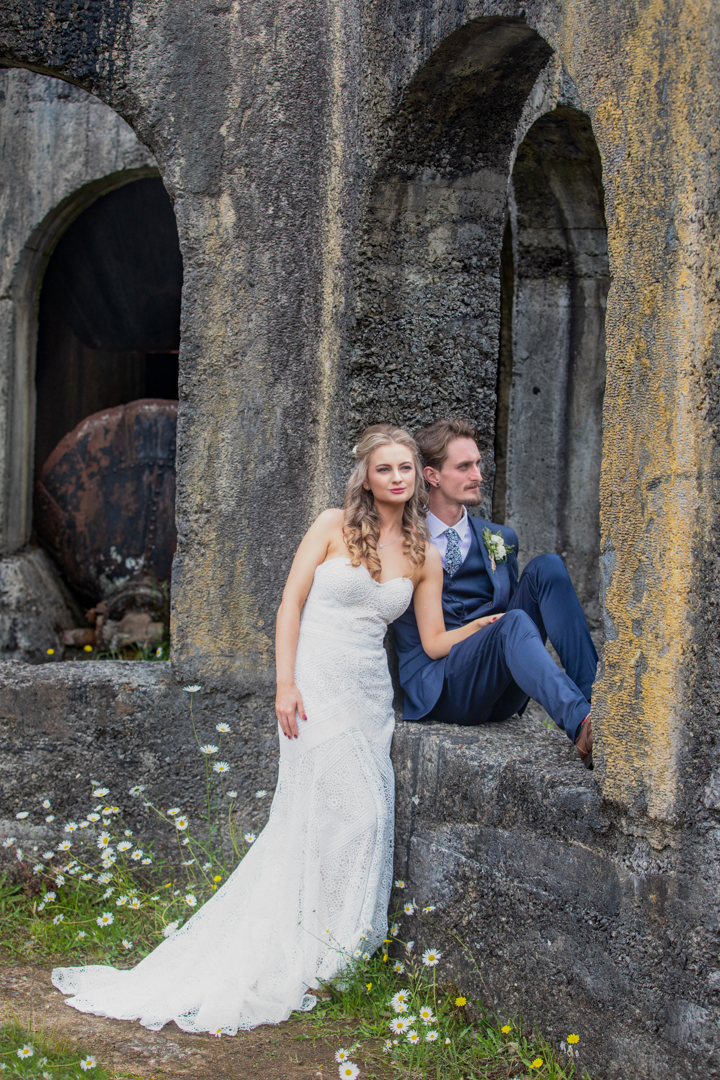 stylized shot of bride and groom at Victoria Battery